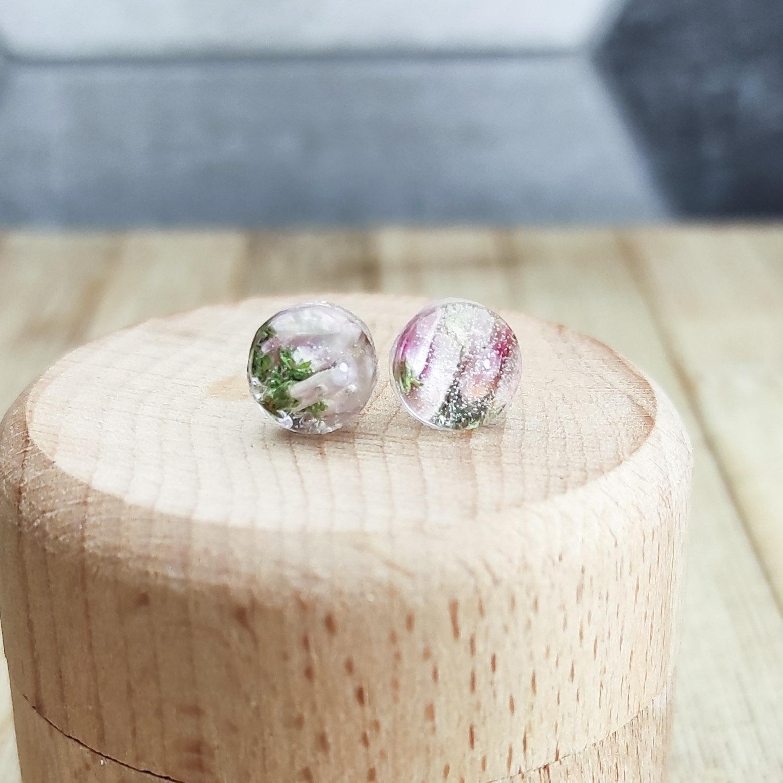 Kolczyki Wrzosiławy różowe mini