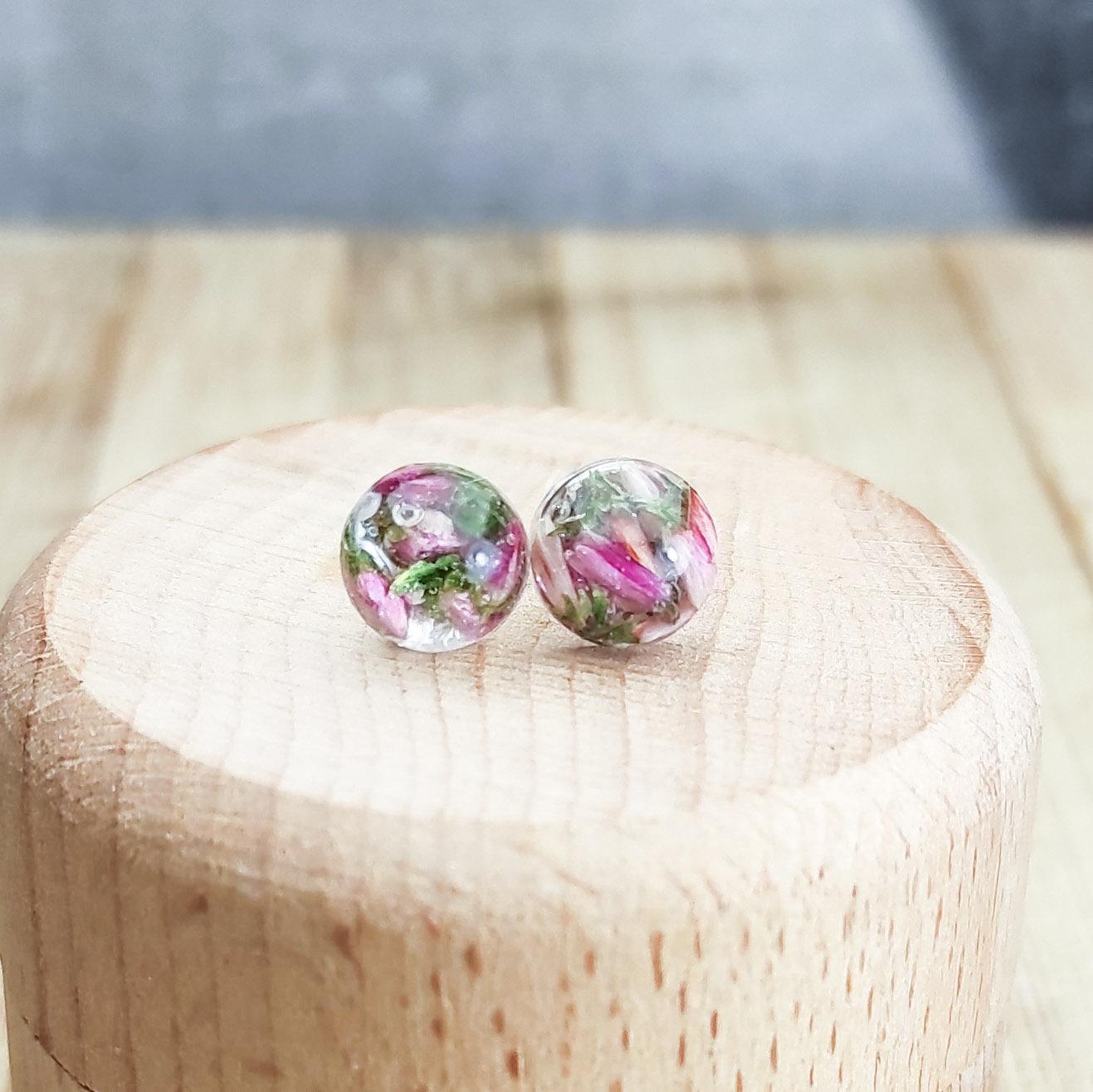 Kolczyki Wrzosisławy purpurowe mini