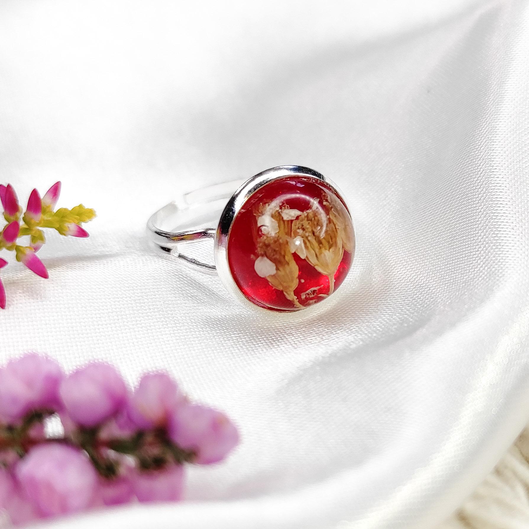 Pierścionek Rubinowy midi z rantem